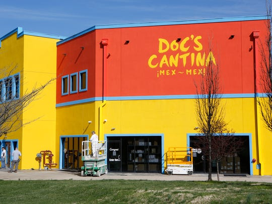 Finishing touches being put on Doc's Cantina before its scheduled openng. March 17, 2016