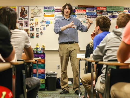 Prevention educator Casey Nesmith talks with students at Floyd Central High School about peer groups and communication. March 18, 2016