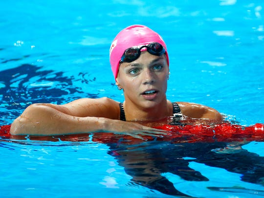 Yuliya Efimova of Russia looks on after the women's
