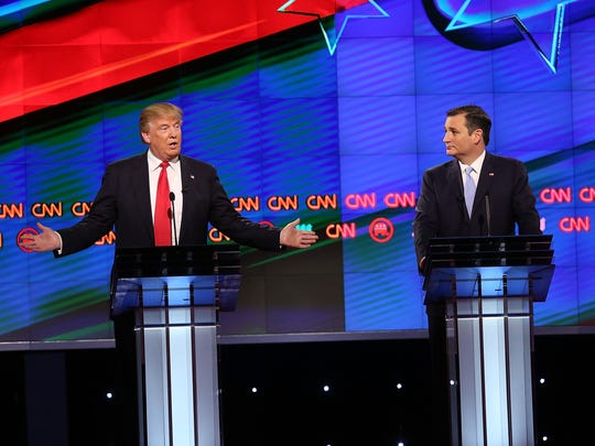 Donald Trump and Ted Cruz take part in the GOP debate