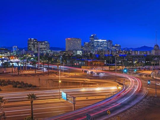 Downtown Phoenix skyline Tuesday, April 7, 2015.