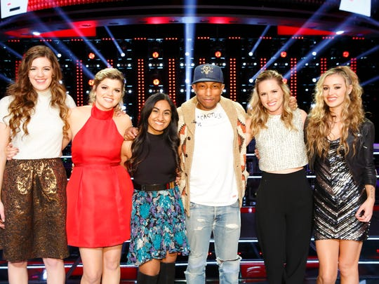 "After ""The Voice"" Knockout Rounds, Team Pharrel is now Team Girl Power with  (l-r) Emily Keener, Caity Peters, Moushumi, Pharrell Williams, Hannah Huston and Lacy Mandigo."