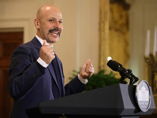 Iranian-American comedian Maz Jobrani delivers remarks