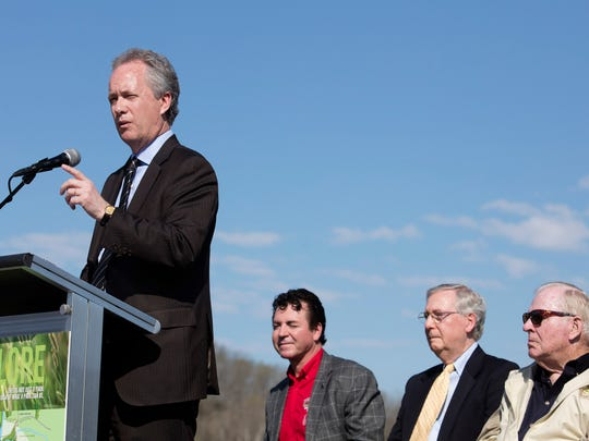 Louisville Mayor Greg Fischer joins other business and elected officials to open Broad Run Park, the final section of the Parklands.