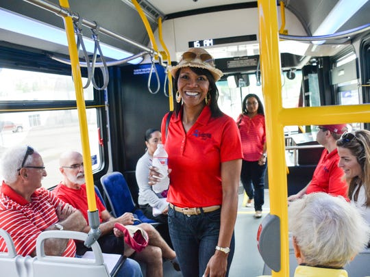 Veronica Williams attending the Bus tour  hosted by