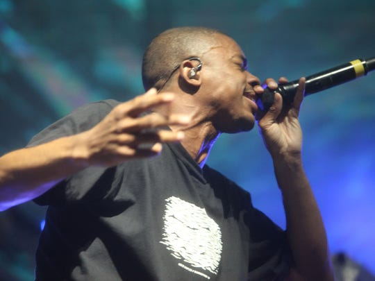 Vince Staples performs on the Sahara Tent during the