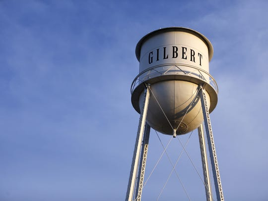 Downtown Gilbert  water tower.