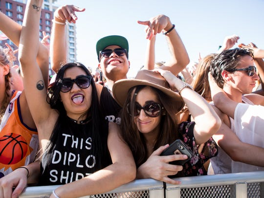These ladies were stoked for Diplo's set at Talking Stick Resort's Release Pool Party in Scottsdale on Saturday, April 23, 2016.