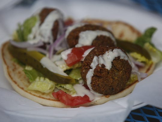 The falafel pita at Gazali's Mediterranean Restaurant in the Drake neighborhood of Des Moines, Wednesday, April 27, 2016.
