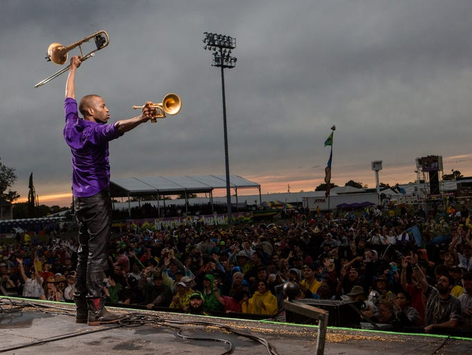 Trombone Shorty performs at the New Orleans Jazz &