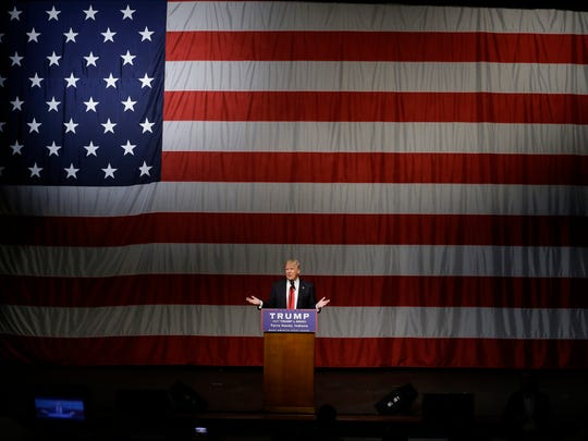 Donald Trump speaks during a campaign rally at the