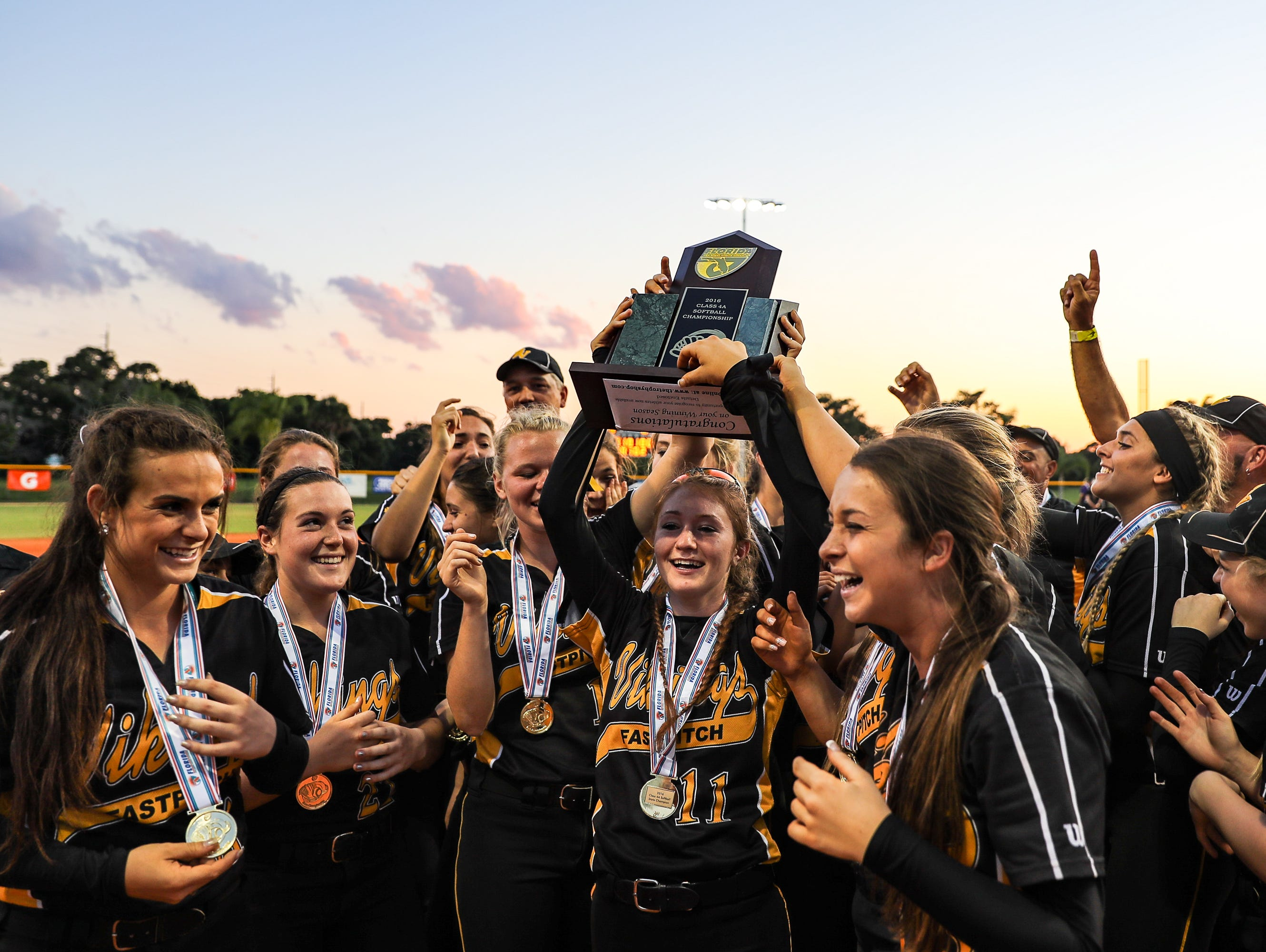 Bishop Verot celebrates their win over Montverde Academy at the FHSAA Class 4A State championship game played at Historic Dodgertown in Vero Beach, FL, on Thursday, May 5, 2016. (J. PATRICK RICE / SPECIAL TO THE NEWS-PRESS)