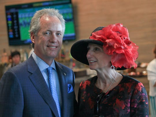 Louisville Mayor Greg Fischer with his wife Dr. Alexandra Gerassimides, MD during the 2016 Kentucky Derby. May 7, 2016