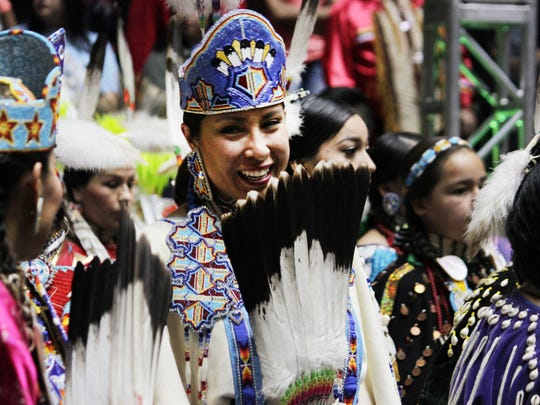 Nearly 3,000 indigenous dancers from across the United States and other countries participate in the first grand entry of the 33rd annual Gathering of Nations in Albuquerque, N.M., on Friday, April 29, 2016.