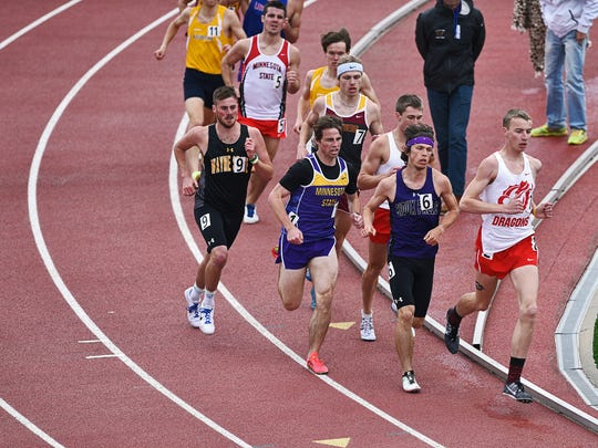 Runners, including USF's Jase Kraft (6),  participate in the men's 1,500-meter run during the 2016 NSIC Outdoor Track and Field Championships Saturda at Howard Wood Field in Sioux Falls.