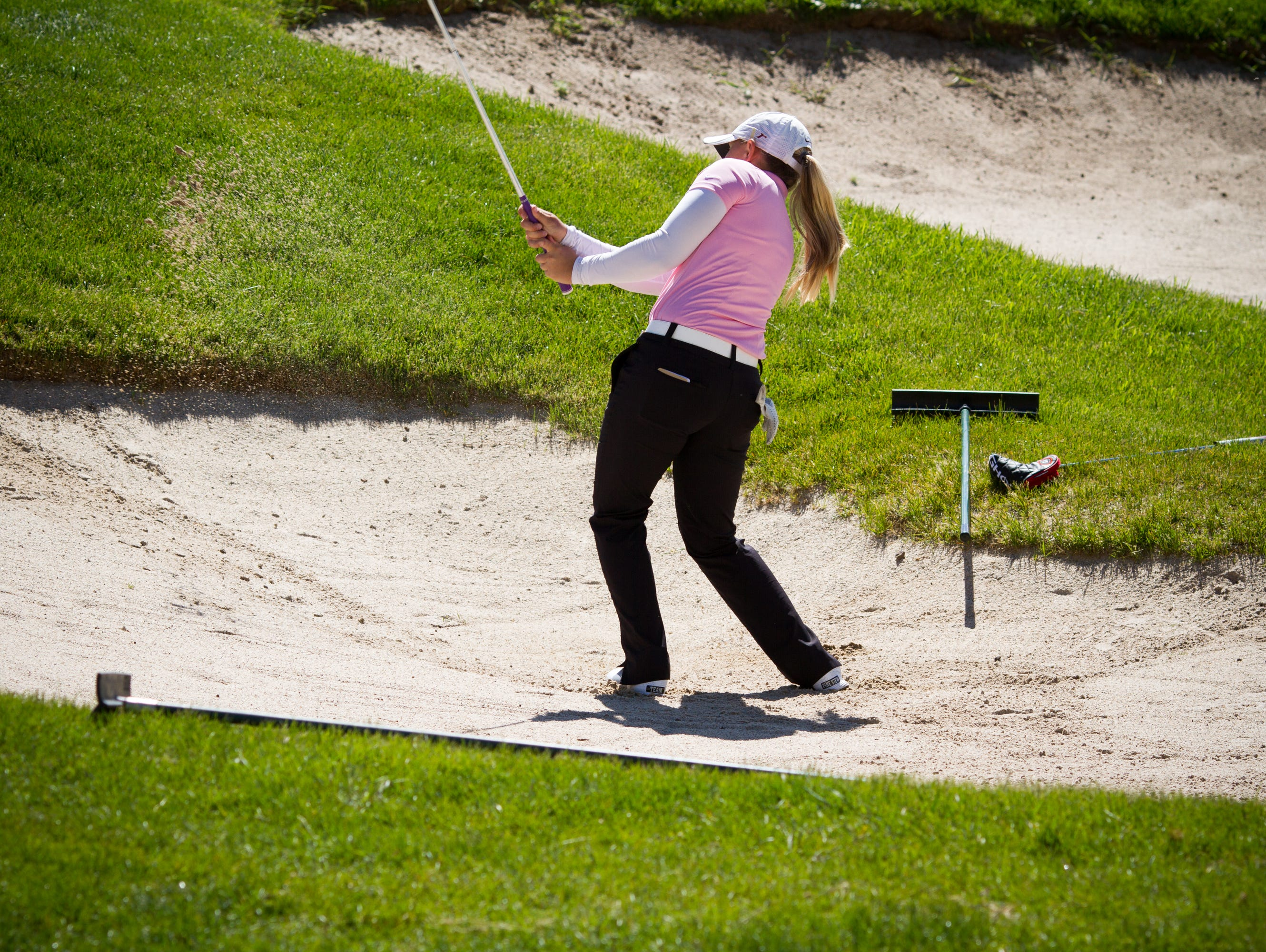 Pine View's Taylor Bandley hits out of a bunker at Soldier Hollow on Wednesday. The Panthers sit in fifth and are just two points behind Dixie for third-place.