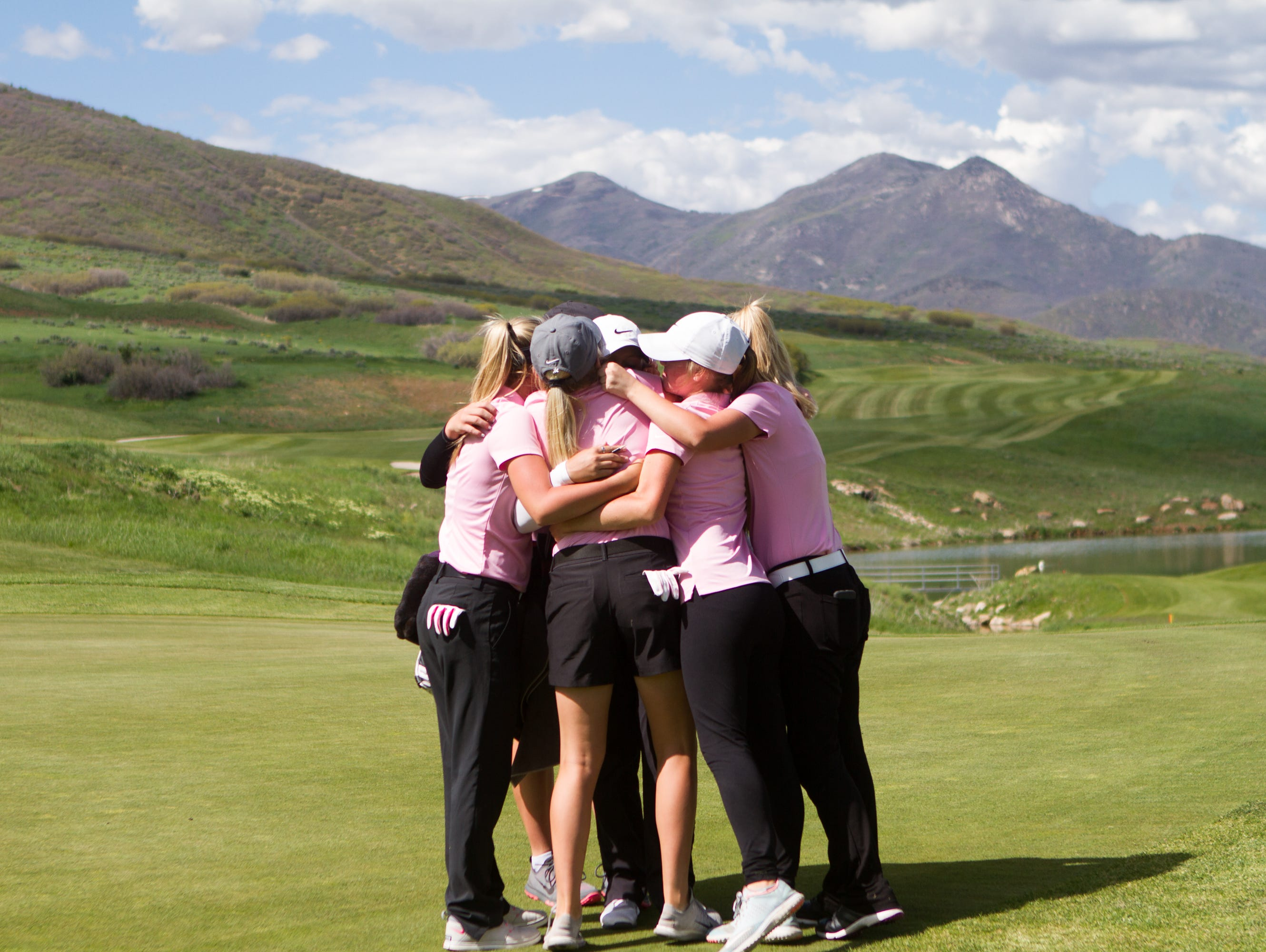 Pine View players celebrate after completing one of the toughest courses in the state at Soldier Hollow on Wednesday.