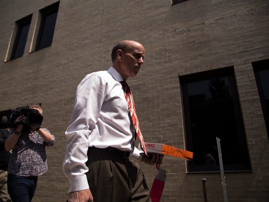 Cal Harris enters Schoharie County Court before Judge Richard Mott continued deliberations for the day Friday.