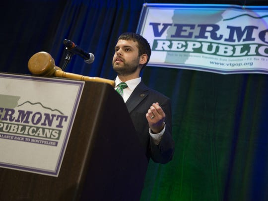 Alexander Willette of Maine speaks on behalf of Donald Trump's presidential campaign at the Vermont Republican Convention in South Burlington on Saturday.