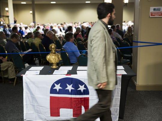 Vermont delegates attend the Vermont Republican Convention in South Burlington on Saturday.