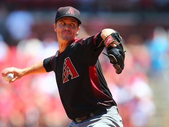 Starter Zack Greinke of the Arizona Diamondbacks pitches