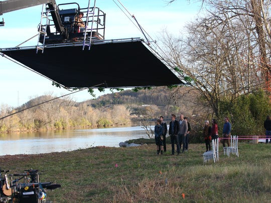 """The cast and crew of """"Nashville"""" film a scene in November. The show filmed exclusively in Middle Tennessee for around 200 days each year and employed roughly 500 people."""