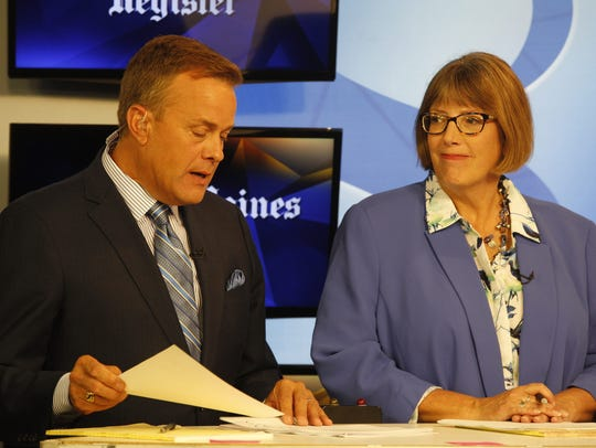 Kathie Obradovich, the new Des Moines Register opinion editor, has frequently moderated candidate debates. Here she's with KCCI anchor Steve Karlin as they moderated a U.S. Senate Democratic primary debate in June 2016.