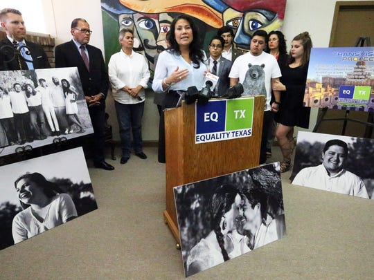 """County Judge Veronica Escobar speaks at a news conference on LGBTQ issues Friday in the offices of state Sen. José Rodríguez in Downtown El Paso. The LGBTQ community will hold a """"Ride the Rainbow"""" parade starting at 10 a.m. Saturday at Houston Park."""