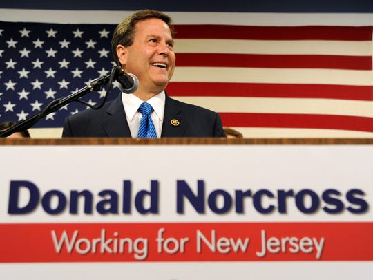 Rep. Donald Norcross gives his victory speech in the Democratic primary in New Jersey's First Congressional District at Camden County Democratic Headquarters in Cherry Hill, N.J., Tuesday, June 7, 2016. (Tom Gralish/The Philadelphia Inquirer via AP)  PHIX OUT; TV OUT; MAGS OUT; NEWARK OUT; MANDATORY CREDIT