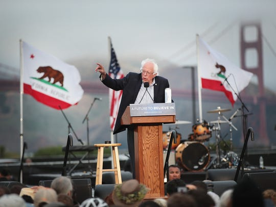 Bernie Sanders speaks at a campaign rally on June 6,