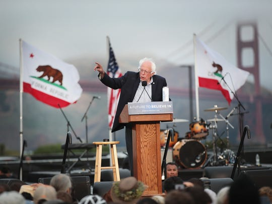 Bernie Sanders speaks at a campaign rally on June 6, 2016, in San Francisco.