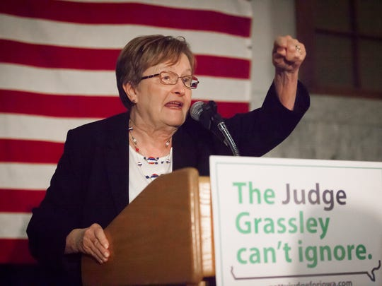 U.S. Senate candidate and former Lt. Governor Patty Judge thanks her supporters at her primary night rally at Link Strategies in Des Moines, Wednesday, June 8, 2016. Judge won Democratic primary to face Chuck Grassley in the general election for U.S. Senate.