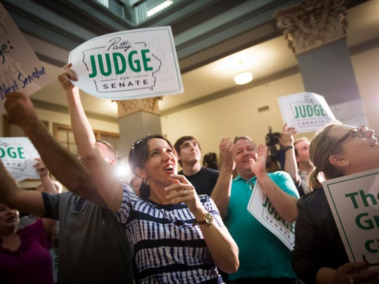 U.S. Senate candidate and former Lt. Governor Patty Judge supporters celebrate at her primary night rally at Link Strategies in Des Moines, Wednesday, June 8, 2016. Judge won Democratic primary to face Chuck Grassley in the general election for U.S. Senate.