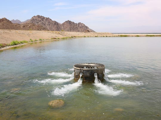 Water from the Colorado River fills a percolation pond that recharges the aquifer at the Thomas E. Levy Groundwater Replenishment Facility in La Quinta.