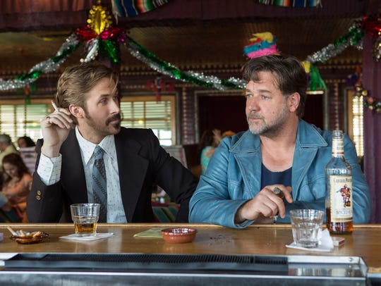 Ryan Gosling and Russell Crowe appear in a scene from