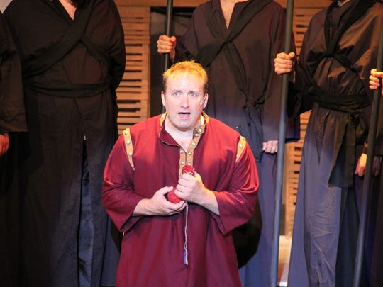 "Eric Parker stars as Judas in ""Jesus Christ Superstar"" at Barn Theatre."