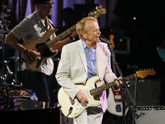 Al Jardine performs with Brian Wilson on his Pet Sounds 50th Anniversary World Tour at Celebrity Theatre Saturday, July 9, 2016 in Phoenix, Ariz..