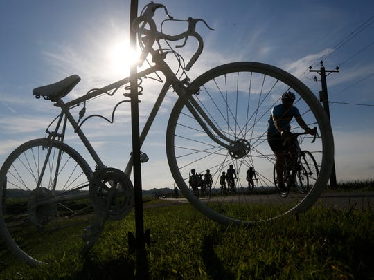 The ghost bike marks the start of the Mile of Silence