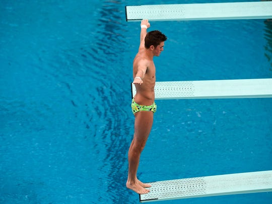 James Connor of Australia competes in the men's 3m  springboard semifinal as part of the 2016 FINA Diving World Cup at Maria Lenk Aquatics Centre in Rio de Janeiro, Brazil.