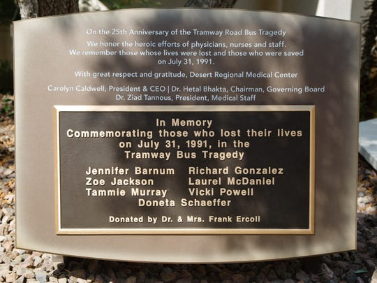 A plaque was dedicated to the survivors and victims of the Girl Scouts bus crash at Desert Regional Medical Center, Monday, August 1, 2016.