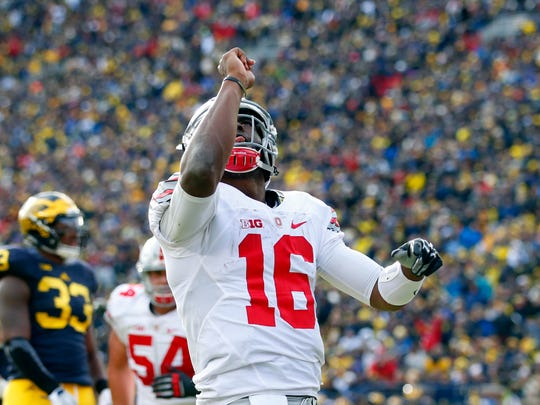 Ohio State Buckeyes quarterback J.T. Barrett , shown