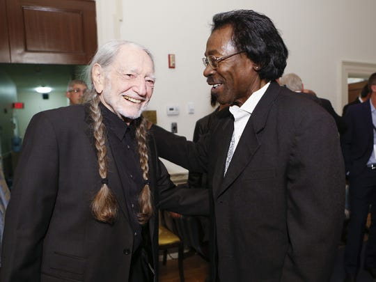Willie Nelson, left, and Stanley Dural, leader of Buckwheat Zydeco, meet before the 2015 Gershwin Prize for Popular Song concert at DAR Constitution Hall, Nov. 18. Willie Nelson, left, and Stanley Dural, leader of Buckwheat Zydeco, meet before the 2015 Gershwin Prize for Popular Song concert at DAR Constitution Hall, November 18, 2015. Photo by Shawn Miller.