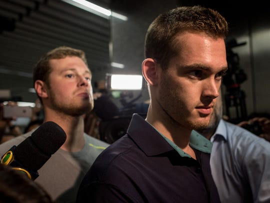 U.S Olympic swimmers Gunnar Bentz and Jack Conger leave