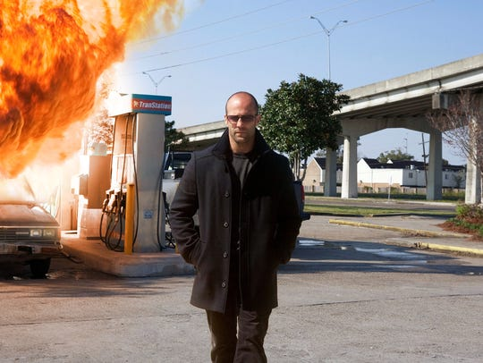 Jason Statham walks past a CGI-aided explosion in 2011's