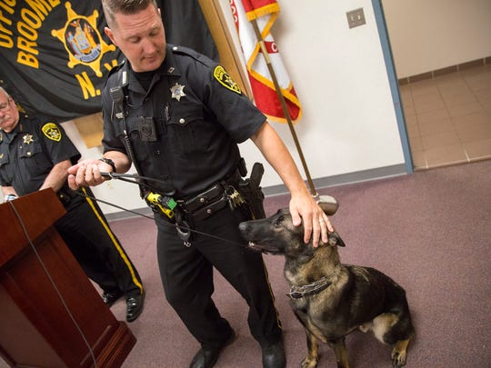 Broome County Sheriff's Office K-9 Bamby, a 14-month old German shepard and Malinois mix from Slovakia, with his handler, deputy Michael Kelly, during a news conference Thursday.