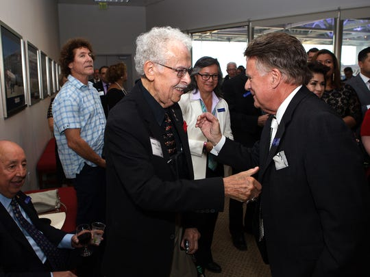 Hank Lacayo, left, shakes hands with Simi Valley Mayor Bob Huber during a VIP meet and greet held at the Ronald Reagan Presidential Library on Thursday afternoon. Lacayo received a Lifetime Achievement Award during the United Way of Ventura County's 2016 Community Partnership Spirit Awards.