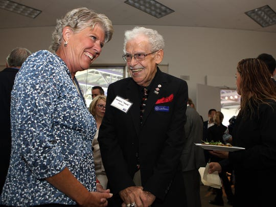 U.S. Rep. Julia Brownley, left, and Hank Lacayo speak during a VIP meet and greet held at the Ronald Reagan Presidential Library on Thursday afternoon. Lacayo received a Lifetime Achievement Award during the United Way of Ventura County's 2016 Community Partnership Spirit Awards.