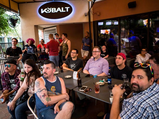 The crowd was enthralled at the RuPaul's Drag Race All Stars 2 viewing party on the patio at Kobalt on Thursday, August 25, 2016.