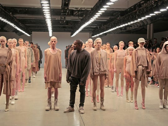Kanye West poses during the finale of Yeezy Season 2 during New York Fashion Week on September 16, 2015.