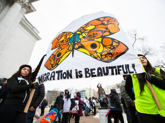 "Latinos protest immigration bills and demonstrate their contribution to the Wisconsin economy outside the state Capitol building in Madison, Wis., on Feb. 18, 2016 during the ""Dia Sin Latinos,"" or Day Without Latinos, event."